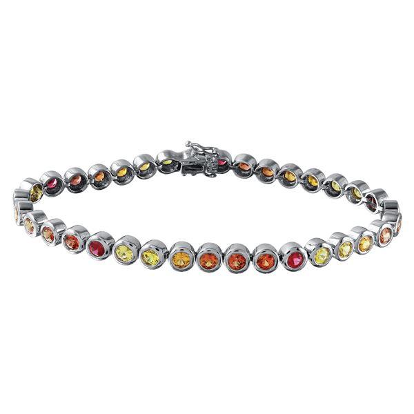 Natural 6.17 CTW Multi-Sapphire & Bracelet 14K White Gold - REF-159N3Y