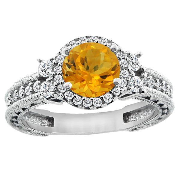 1.46 CTW Citrine & Diamond Ring 14K White Gold - REF-77A4X