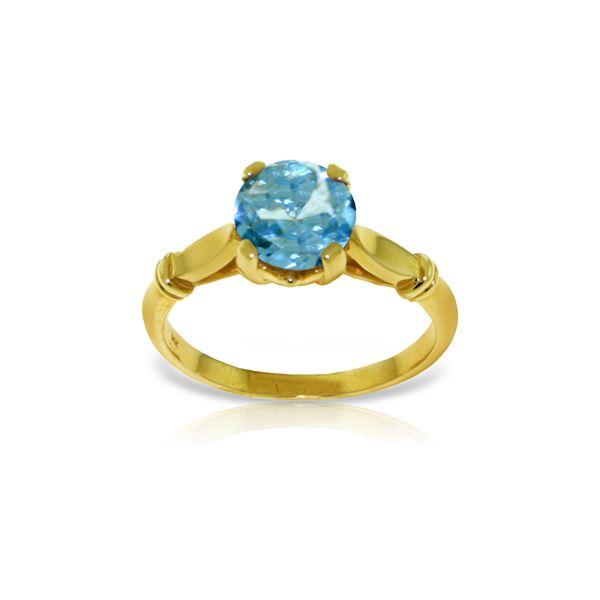 Genuine 1.15 ctw Blue Topaz Ring 14KT Yellow Gold - REF-51W4Y