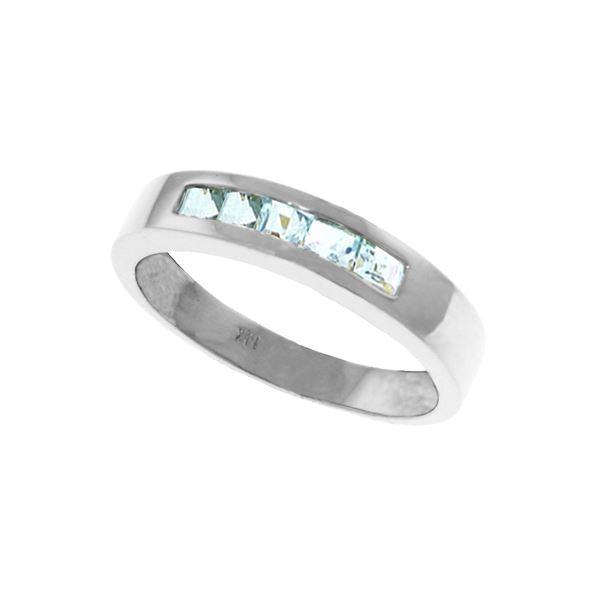 Genuine 0.50 ctw Aquamarine Ring 14KT White Gold - REF-47T2A