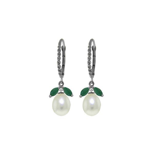 Genuine 9 ctw Emerald & Pearl Earrings 14KT White Gold - REF-41Y4F
