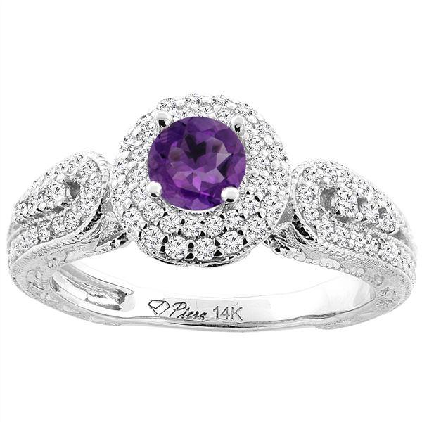 0.92 CTW Amethyst & Diamond Ring 14K White Gold - REF-88M7A