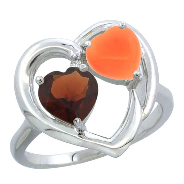 1.31 CTW Garnet & Diamond Ring 10K White Gold - REF-23W5F