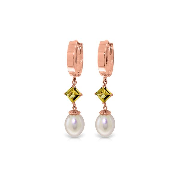 Genuine 9.5 ctw Pearl & Citrine Earrings 14KT Rose Gold - REF-53W2Y