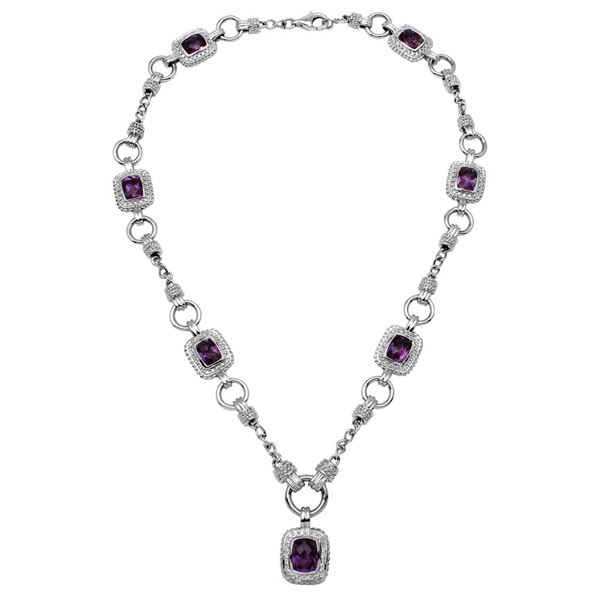 Natural 11.83 CTW Amethyst & Diamond Necklace 14K White Gold - REF-390N6Y