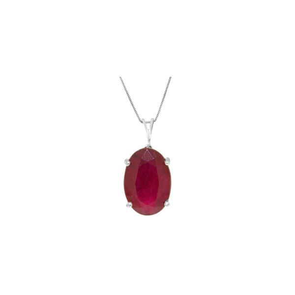 Genuine 7.7 ctw Ruby Necklace 14KT White Gold - REF-70N6R