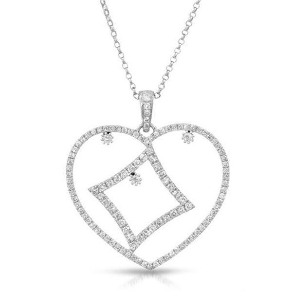 Natural 0.94 CTW Diamond Necklace 14K White Gold - REF-74K7R