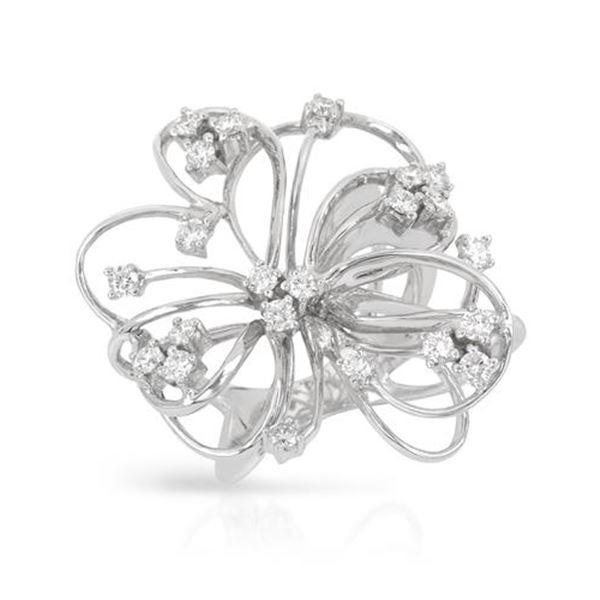 Natural 0.99 CTW Diamond Ring 18K White Gold - REF-236T7X