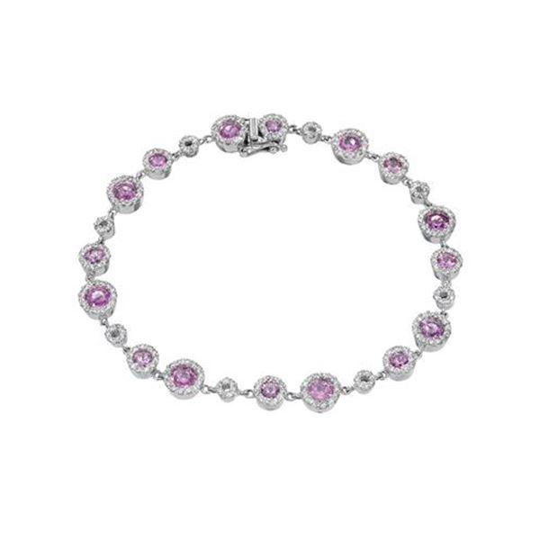 Natural 5.14 CTW Pink Sapphire & Diamond Bracelet 14K White Gold - REF-227K7R