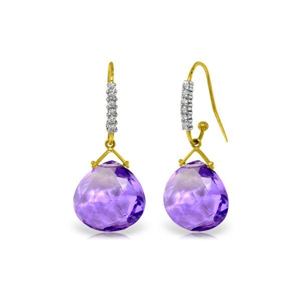 Genuine 17.18 ctw Amethyst & Diamond Earrings 14KT Yellow Gold - REF-59Y3F