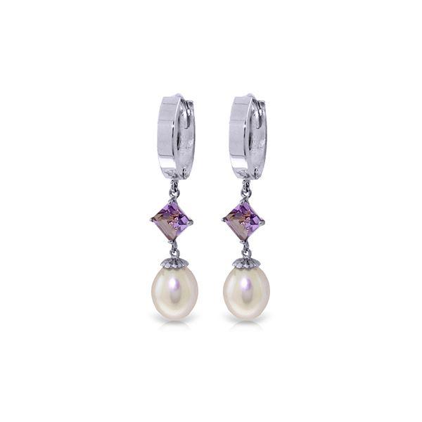 Genuine 9.5 ctw Pearl & Amethyst Earrings 14KT White Gold - REF-53M2T