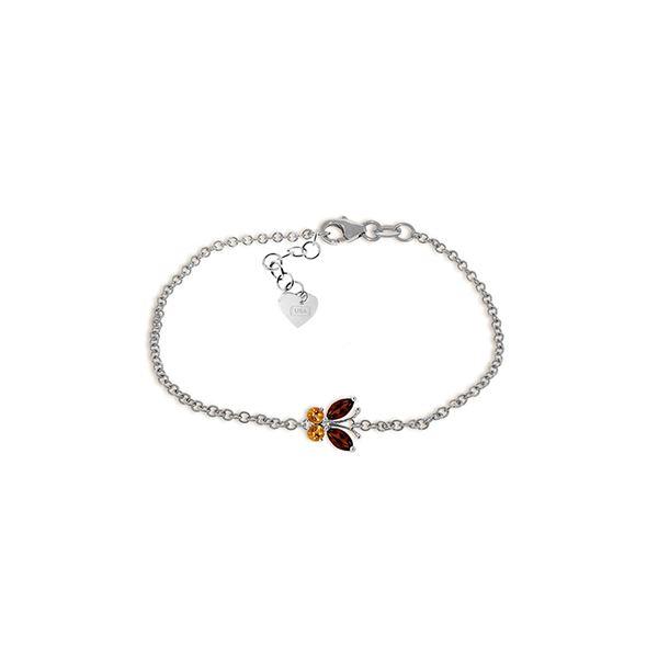 Genuine 0.60 ctw Garnet & Citrine Bracelet 14KT White Gold - REF-41W6Y