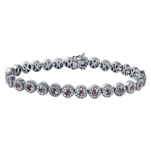 Natural 2.48 CTW Ruby & Diamond Bracelet 14K White Gold - REF-248N4Y