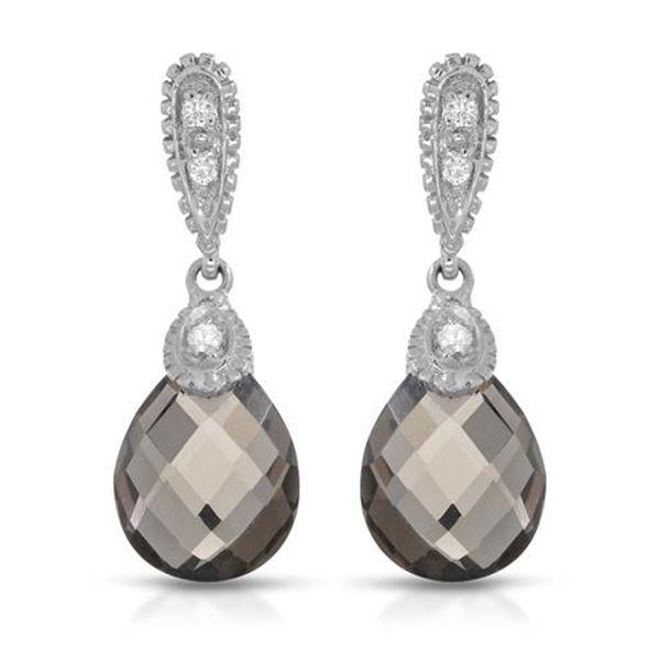 Natural 5.16 CTW Smoky Topaz & Diamond Earrings 14K White Gold - REF-35W3H