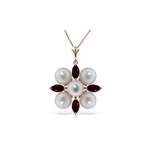 Genuine 6.3 ctw Garnet & Pearl Necklace 14KT Rose Gold - REF-59F2Z