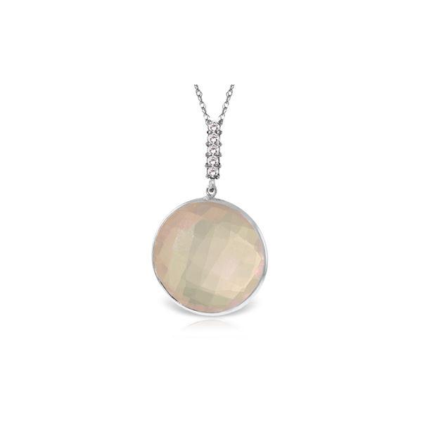 Genuine 17.08 ctw Rose Quartz & Diamond Necklace 14KT White Gold - REF-54H6X