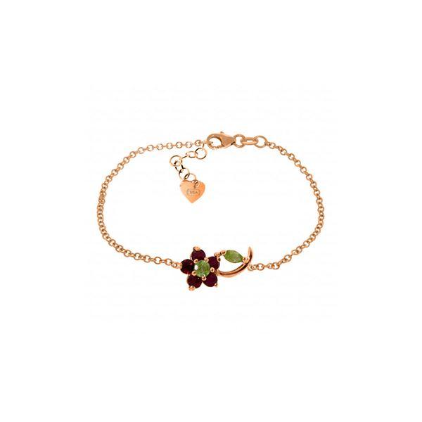 Genuine 0.87 ctw Peridot & Ruby Bracelet 14KT Rose Gold - REF-52A2K