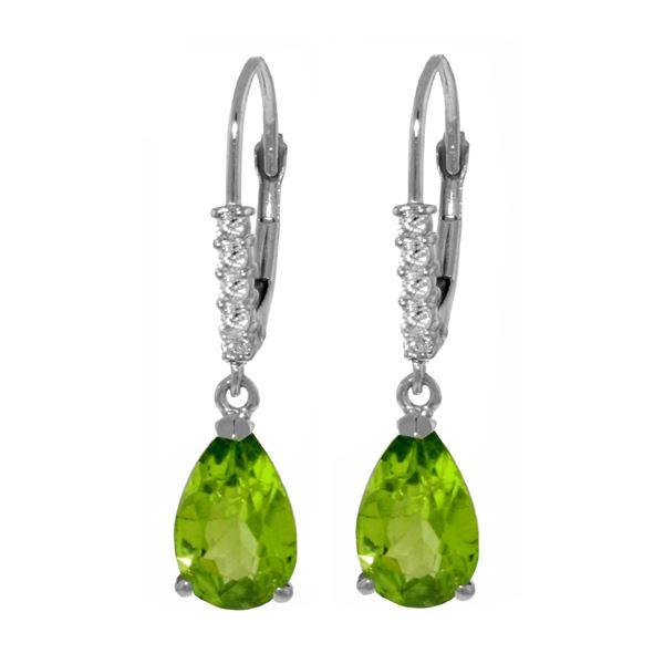Genuine 3.15 ctw Peridot & Diamond Earrings 14KT White Gold - REF-44F3Z