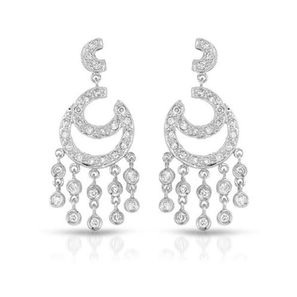 Natural 0.86 CTW Diamond Earrings 14K White Gold - REF-102T6X