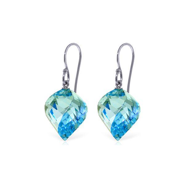 Genuine 27.8 ctw Blue Topaz Earrings 14KT White Gold - REF-67K5V