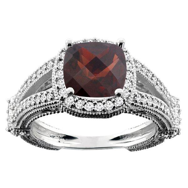 4.10 CTW Garnet & Diamond Ring 10K White Gold - REF-45F3N
