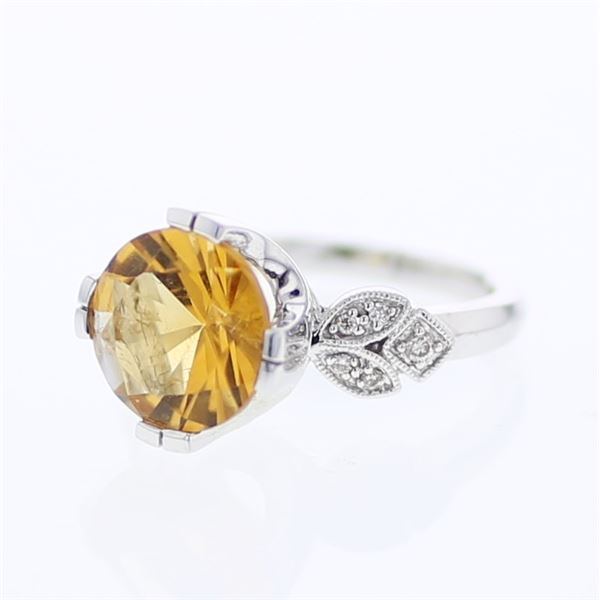 Natural 4.26 CTW Citrine & Diamond Ring 18K White Gold - REF-81F2M