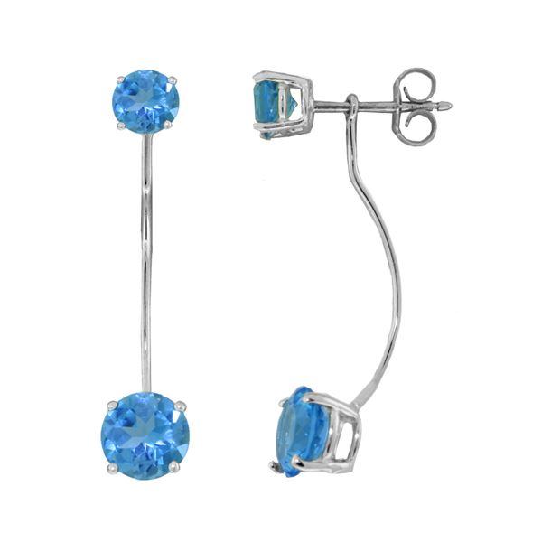 Genuine 4.3 ctw Blue Topaz Earrings 14KT White Gold - REF-30X6M