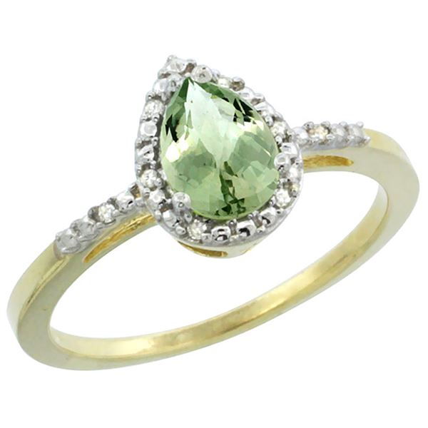 1.55 CTW Amethyst & Diamond Ring 10K Yellow Gold - REF-20W7F