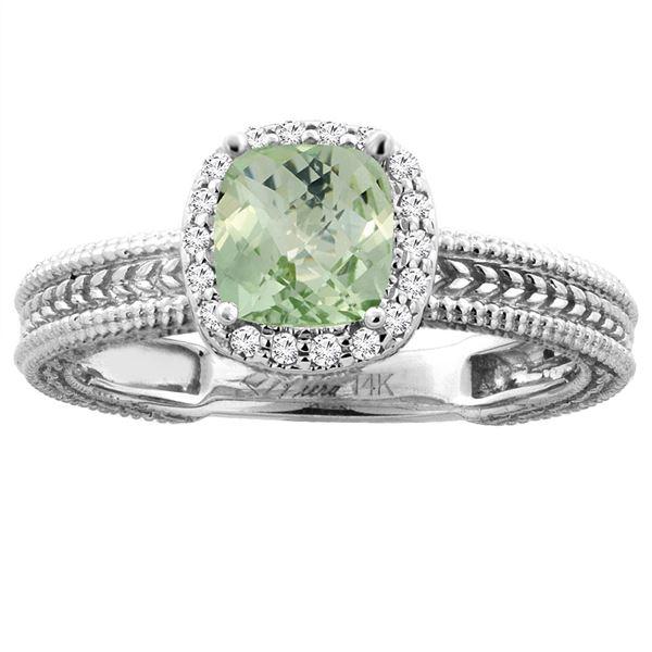 1.60 CTW Amethyst & Diamond Ring 14K White Gold - REF-45K3W