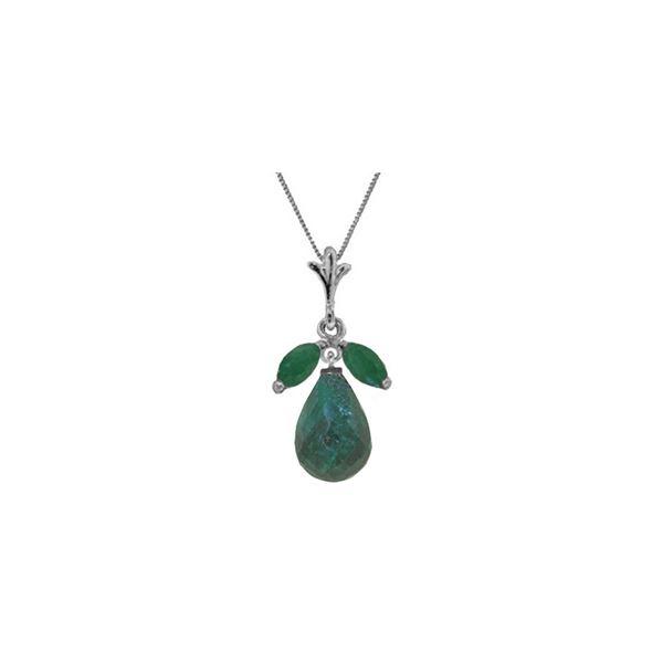 Genuine 9.3 ctw Green Sapphire Corundum & Emerald Necklace 14KT White Gold - REF-30R2P