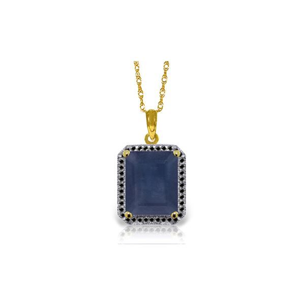 Genuine 6.6 ctw Sapphire & Black Diamond Necklace 14KT Yellow Gold - REF-100N6R