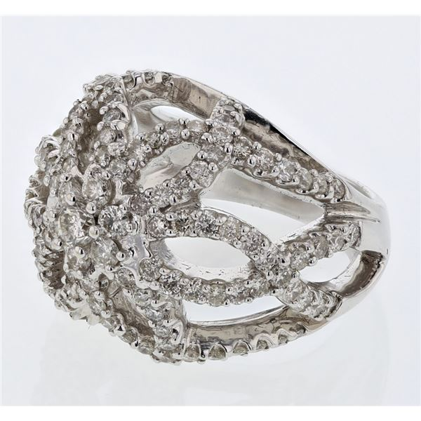 Natural 2.87 CTW Diamond Ring 14K White Gold - REF-294N3Y