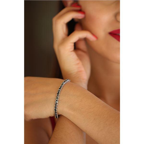 Natural 11.85 ctw Black Diamond Eternity Tennis Bracelet 14K White Gold - REF-279K4W