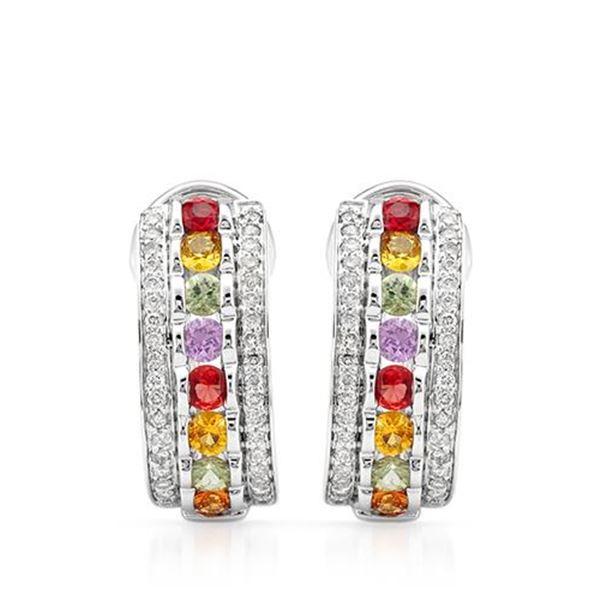 Natural 2.57 CTW Multi-Sapphire & Diamond Earrings 14K White Gold - REF-144W2H