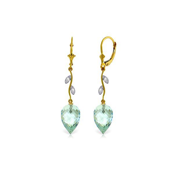 Genuine 22.52 ctw Blue Topaz & Diamond Earrings 14KT Yellow Gold - REF-68P2H