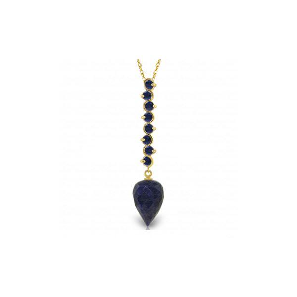 Genuine 14.55 ctw Sapphire Necklace 14KT Yellow Gold - REF-52R9P