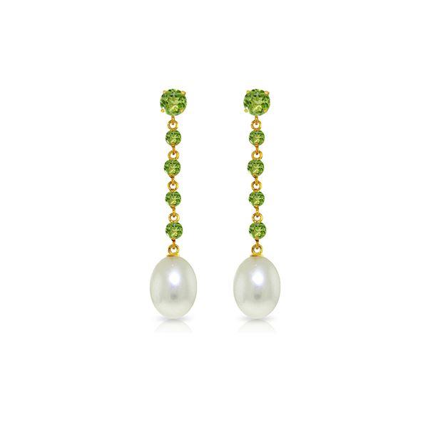 Genuine 10 ctw Peridot & Pearl Earrings 14KT White Gold - REF-32R4P