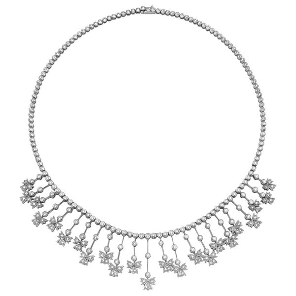 Natural 5.32 CTW Diamond Necklace 14K White Gold - REF-534W6H