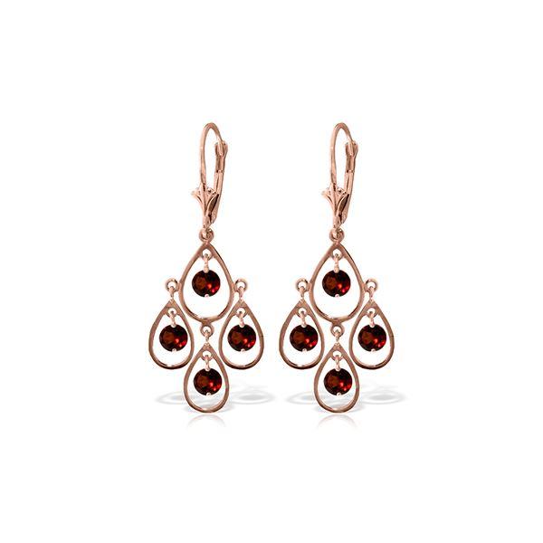 Genuine 2.4 ctw Garnet Earrings 14KT Rose Gold - REF-54X9M