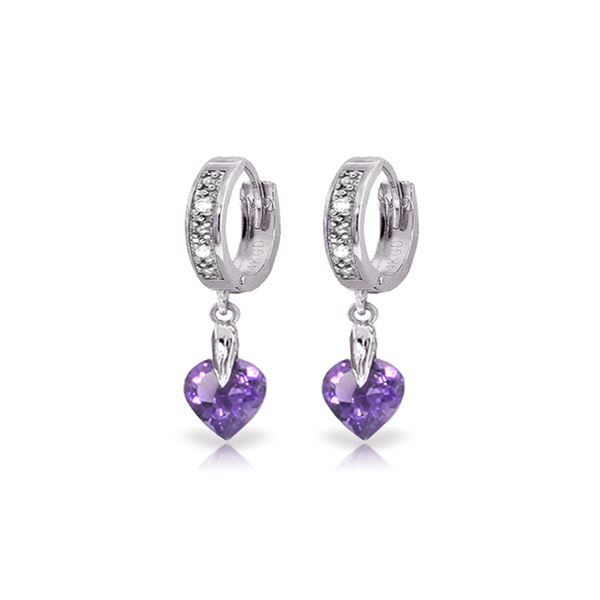 Genuine 1.77 ctw Amethyst & Diamond Earrings 14KT White Gold - REF-35F2Z