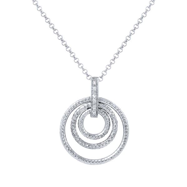 Natural 0.05 CTW Diamond Necklace 14K White Gold - REF-36N9Y