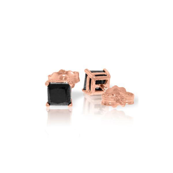 Genuine 1.0 ctw Black Diamond Earrings 14KT Rose Gold - REF-46V7W