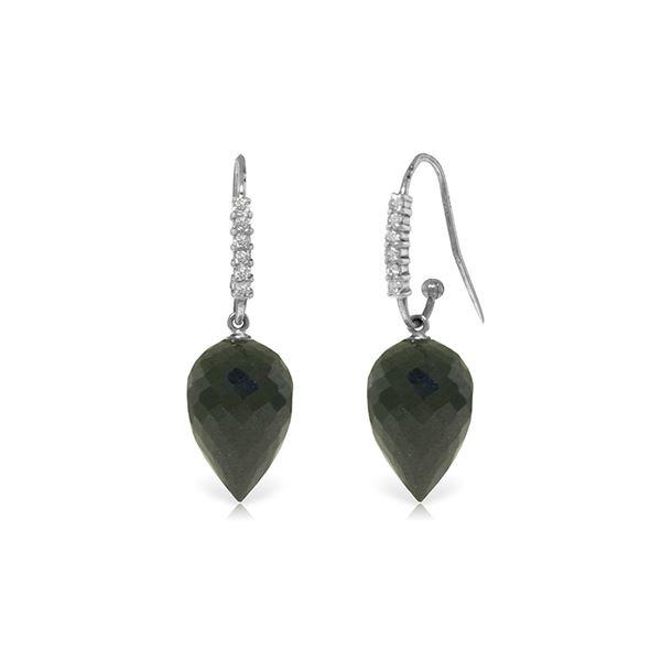 Genuine 24.68 ctw Black Spinel & Diamond Earrings 14KT White Gold - REF-50K5V