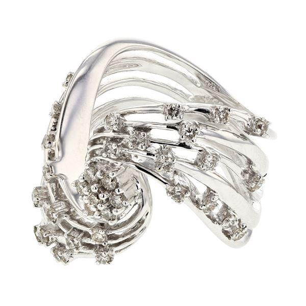 Natural 0.69 CTW Diamond Ring 14K White Gold - REF-120N6Y