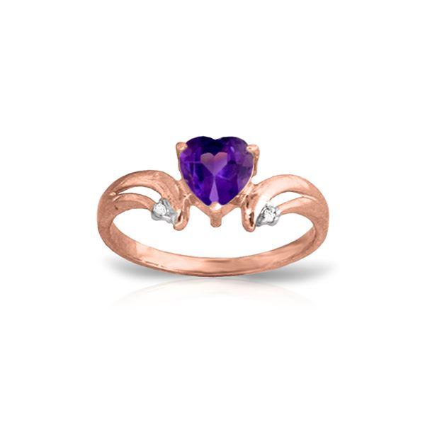 Genuine 0.96 ctw Amethyst & Diamond Ring 14KT Rose Gold - REF-41M4T