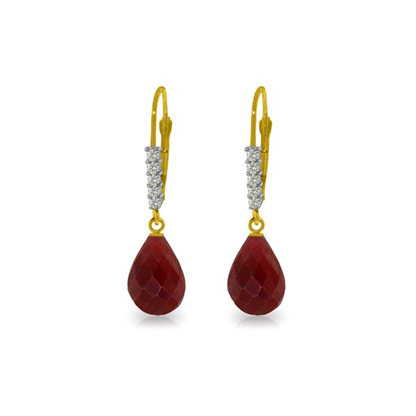 Genuine 17.75 ctw Ruby & Diamond Earrings 14KT Yellow Gold - REF-41R6P