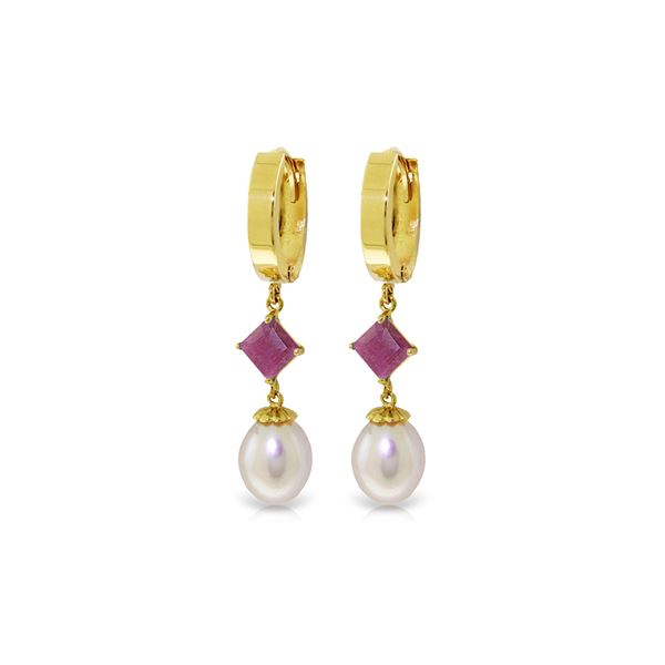 Genuine 9.5 ctw Pearl & Ruby Earrings 14KT Yellow Gold - REF-61R2P