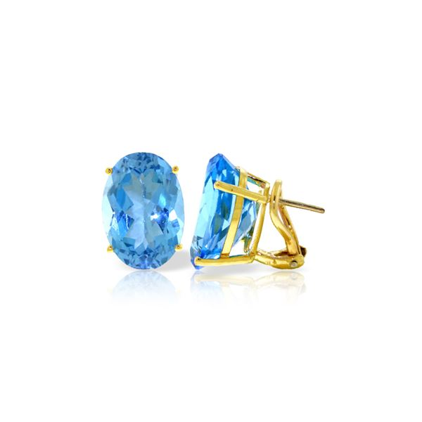 Genuine 16 ctw Blue Topaz Earrings 14KT Yellow Gold - REF-60A4K