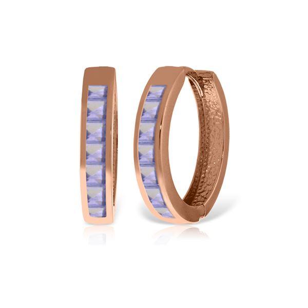 Genuine 1.35 ctw Tanzanite Earrings 14KT Rose Gold - REF-64Y7F