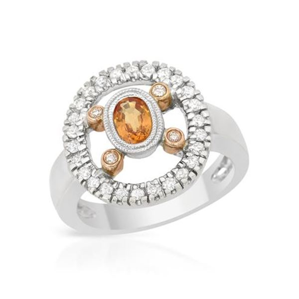 Natural 0.88 CTW Yellow Sapphire & Diamond Ring 18K Two Tone Rose Gold - REF-112N5Y